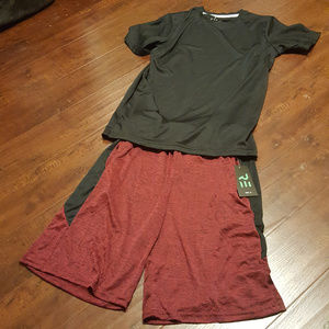 Dry-Fit Active Shorts w/ Dry-Fit Tee Burg/Blk S
